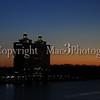 Dawn breaks on the Westin hotel, across the Savannah river in Savannah GA