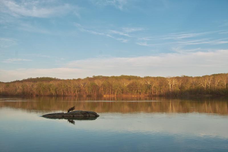 Spring Sunset River Bend Park above Great Falls Virginia.