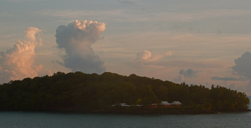 Morning light and storms near Isle Royale in the Salvation Isles (Iles du Salut) off the coast of French Guiana.