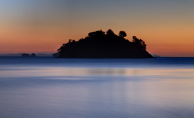 Oamaru Bay, Coromandel, New Zealand, after sunset on the beach