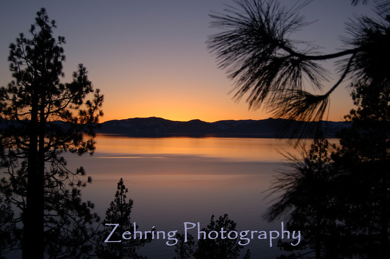 Sunset vista overlooking scene at Lake Tahoe, NV.