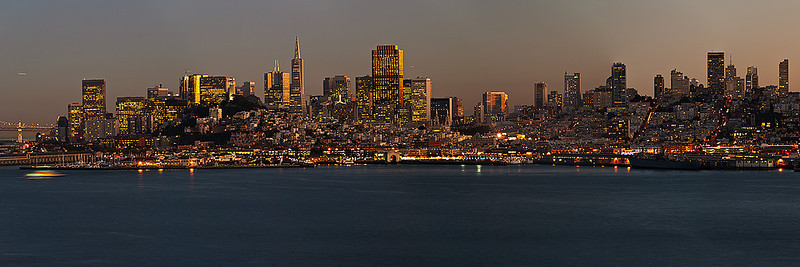 Partial View of San Francisco City Night Lights at Dusk. Shot from Alcatraz. Left Half SF DSC_1487.