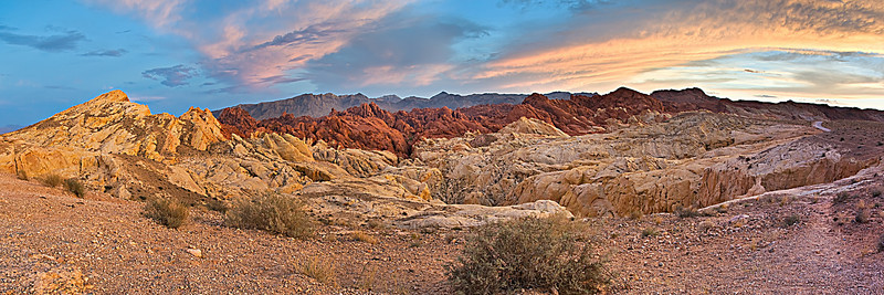 Sunset in the Valley of Fire at Rainbow Vista.