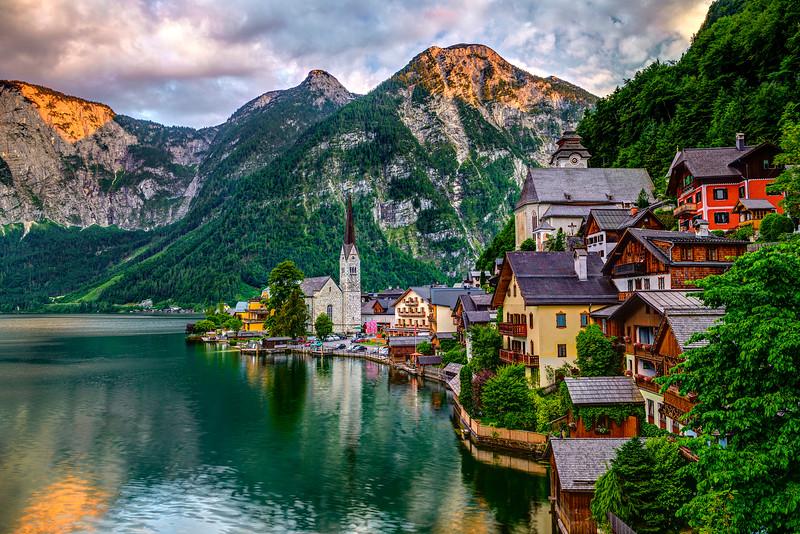 """European Postcard Village at Sunset"""