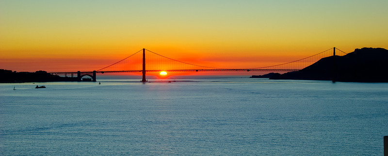Golden Gate Bridge at Sunset taken from the roof of Alcatraz.