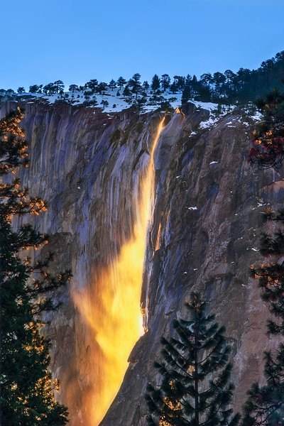 """Nature's Firefall"" Horsetail Falls Waterfall at Sunset of El Capitan at Sunset in Yosemite National Park"