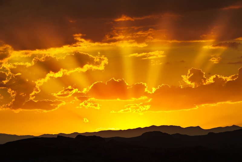 God Beams.  Sunset in the Valley of Fire among the clouds