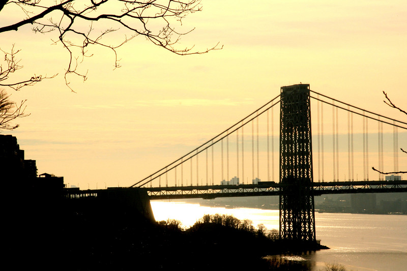 Bridge over Hudson River at sunset
