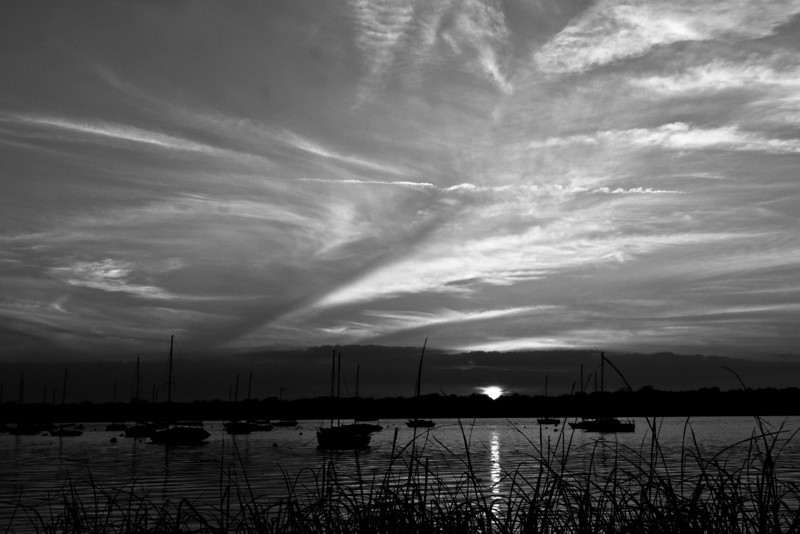 White Rock Sailboats Sunset Black and White 1
