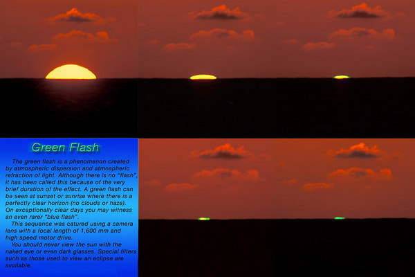 "Green flash sequence taken with a lens combination with a focal length of 1600mm. This is a mirage that occurs when sunlight passes through earths atmosphere. For a more detailed explaination go here:  <a href=""http://www.exo.net/~pauld/physics/atmospheric_optics/green_flash.html"">http://www.exo.net/~pauld/physics/atmospheric_optics/green_flash.html</a>"