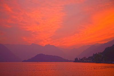 The Sky Catches Fire Over Lake Como