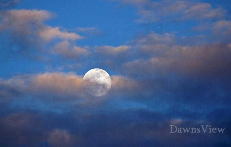 Moon rising while sun was setting, February 16, 2011, Tucson AZ