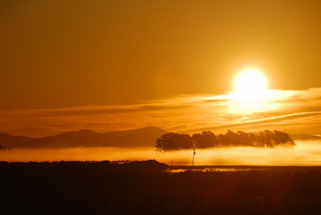 Sun rises over Napa
