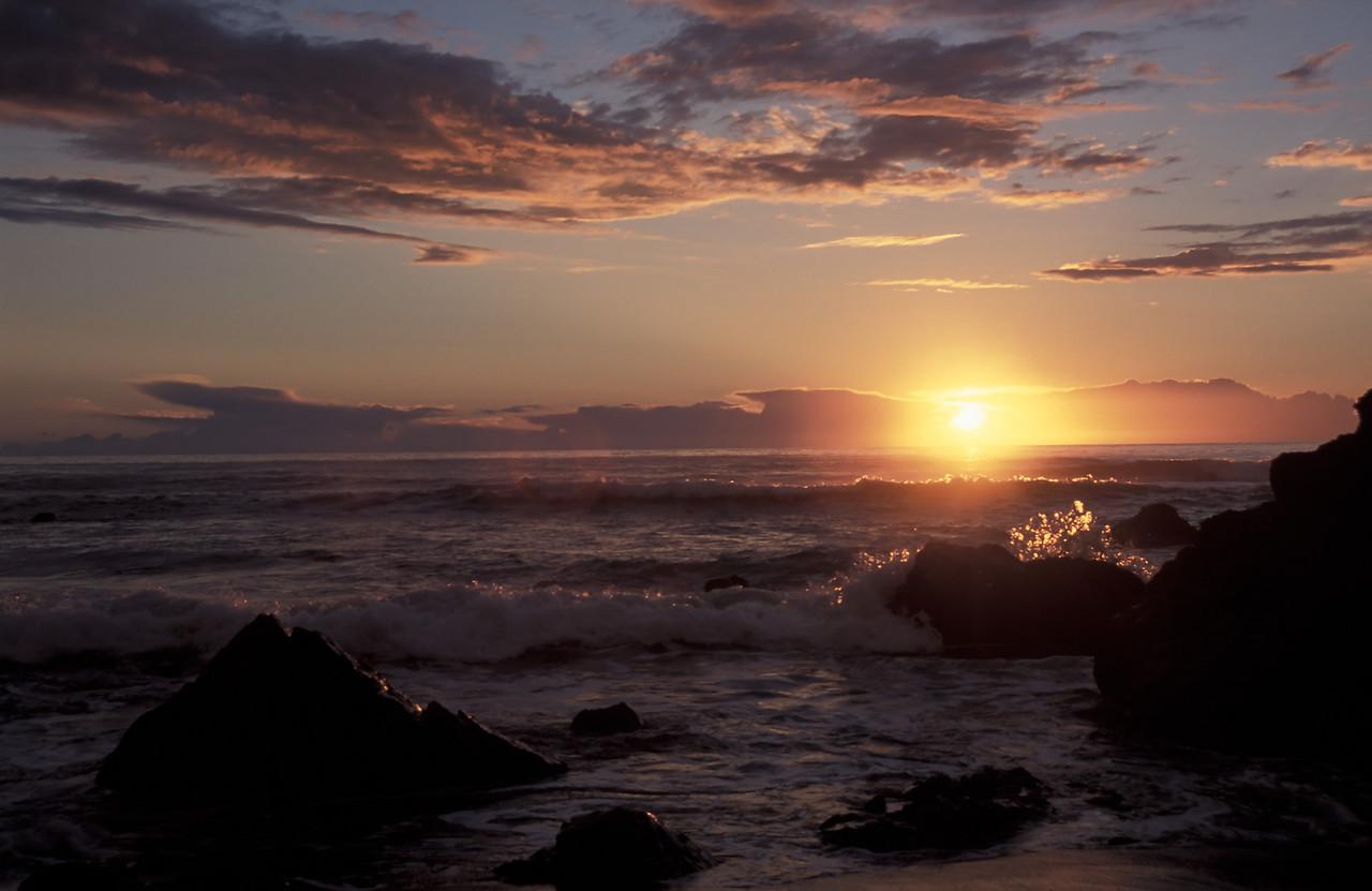 Crashing waves during sunset in Mendocino, California