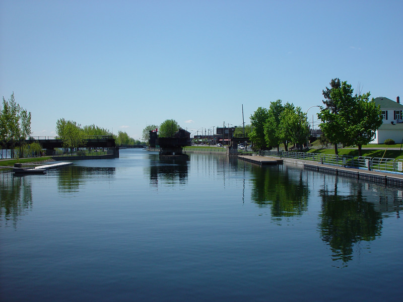 Water's canal becomes a canvas for an impressionist  painting. LOCK,CHAMBLY'S CANAL  ST. JEAN-SUR-RICHELIEU,QUEBEC