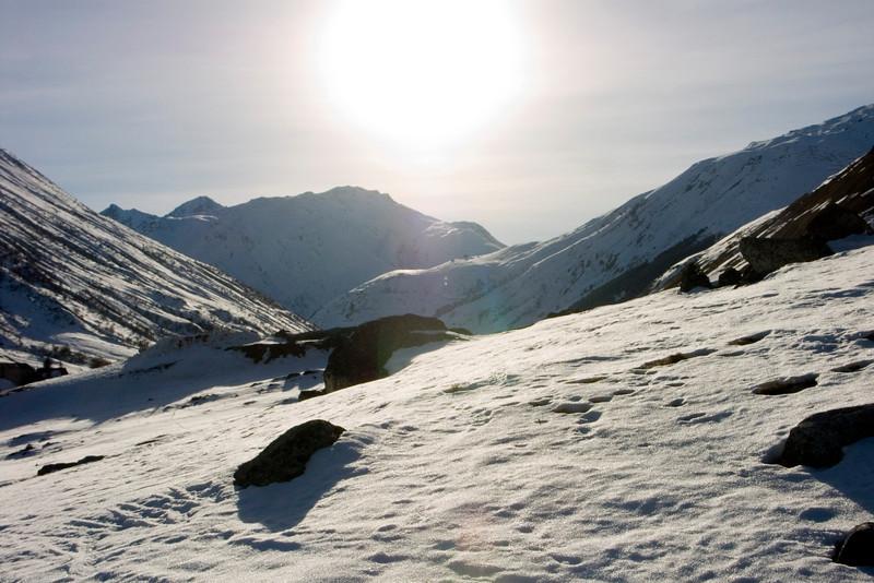 Urserental between Realp and Hospental - view towards west, Stotzigen Firsten (2752m) and Furkapass<br /> Konica Minolta Dimage A2