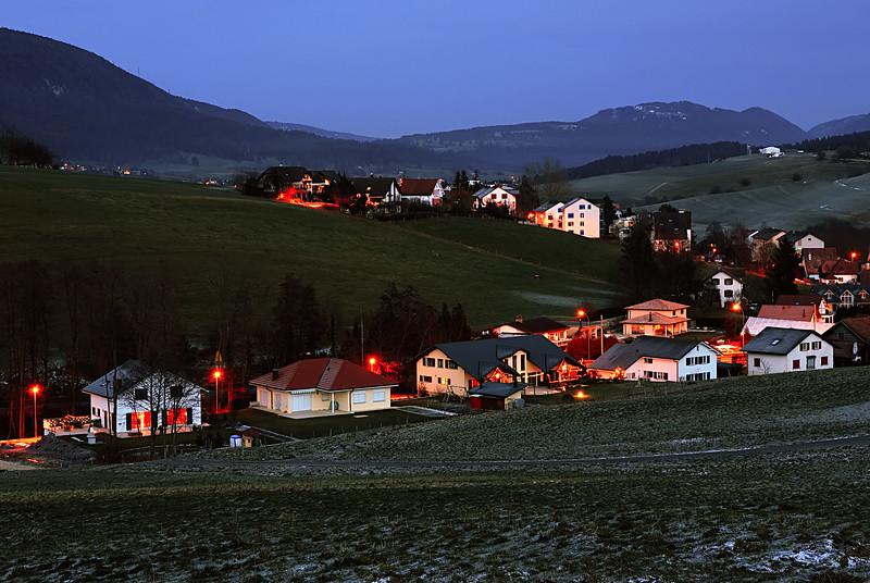 At dusk. <br /> Tavannes, BE - Switzerland.