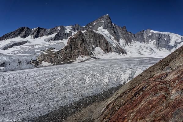 Fiescher Glacier, view from Finsteraarhorn Hut 3048m