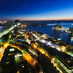 Sydney Harbour Bridge, Sydney Opera House and ferries before Sunrise shot from the Shangri-La Hotel in Sydney, Australia. Best room in the hotel!
