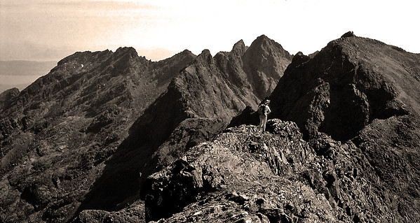 Sepia conversion of the Sgurr na Banachdich ridge looking south