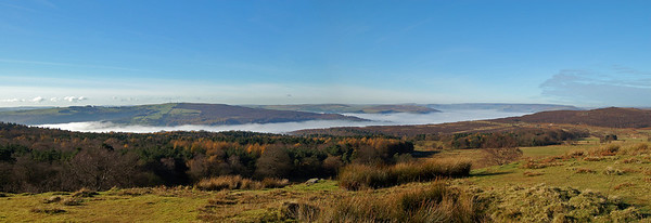 A 2 shot photomerge panorama looking west and north-west from the Longshaw Estate. The TV mast is on Eyam Moor. Kinder Scout is in the far distance to the right of centre