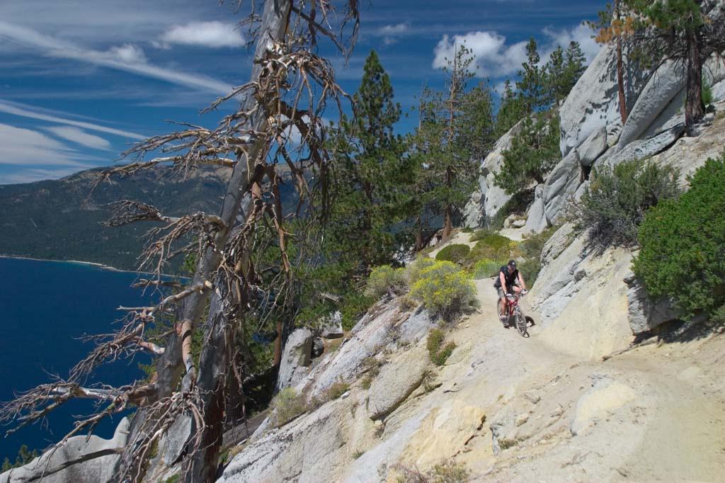 Biker on Rim Trail, Lake Tahoe
