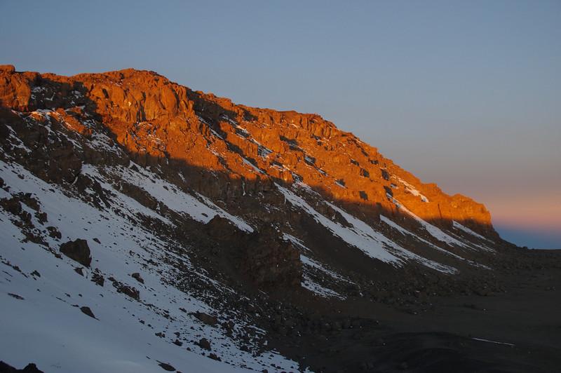 View from Stella Point to Uhuru Peak at sunrise