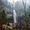 Laurel Falls in the Laurel-Snow Pocket Wilderness Area in Tennessee on a foggy winter morning