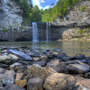 Cane Creek Falls in Fall Creek Falls in Tennessee.  View from bottom of Cable Trail.