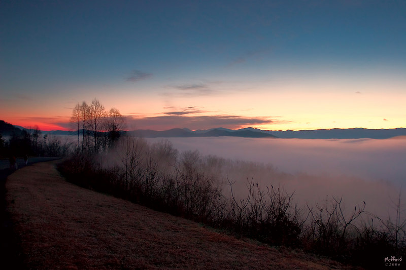 Sunrise on off the Foothills parkway near Townsend, TN.
