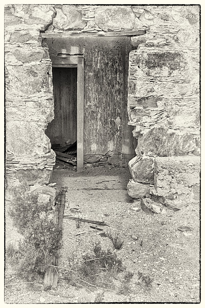 Doorway - Abandoned ruins of the Consolidated Mercury Mine, Stude Butte, Brewster Co., TX