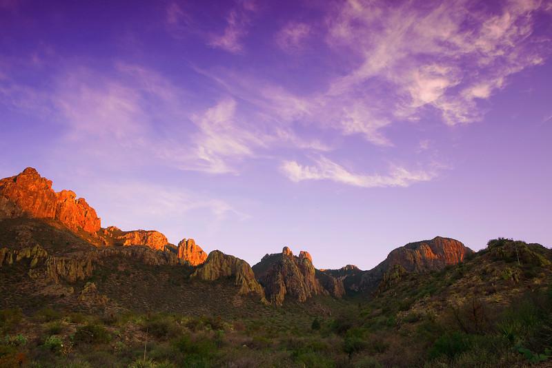 Texas, Big Bend National Park, Texas, Chisos Mountains, Sunset, Landscape, 德克萨斯, 大弯曲国家公园,风景