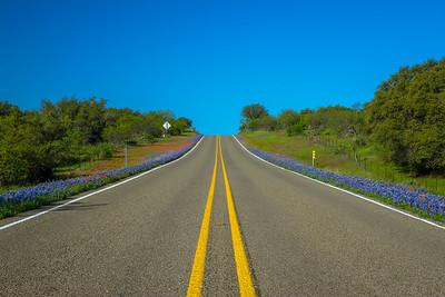 Texas bluebonnet Highway near Enchanted Rock.