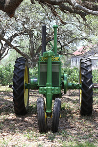 """A 1936 John Deere Model """"B"""" from the front."""