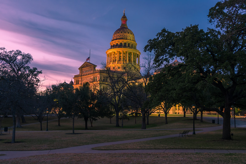Texas State Capitol at sunset: 2018