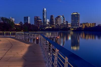 Austin boardwalk trail at blue hour.