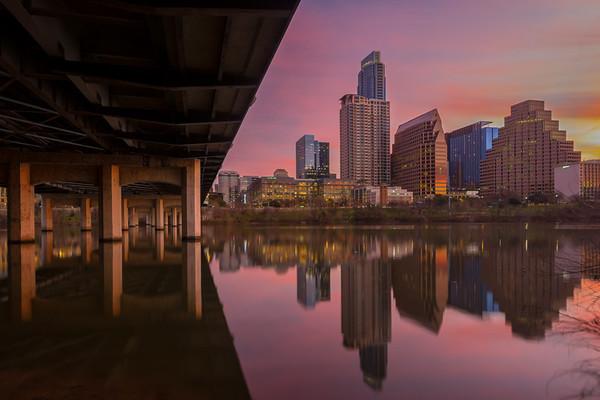 First Street bridge and Austin at sunrise 2.