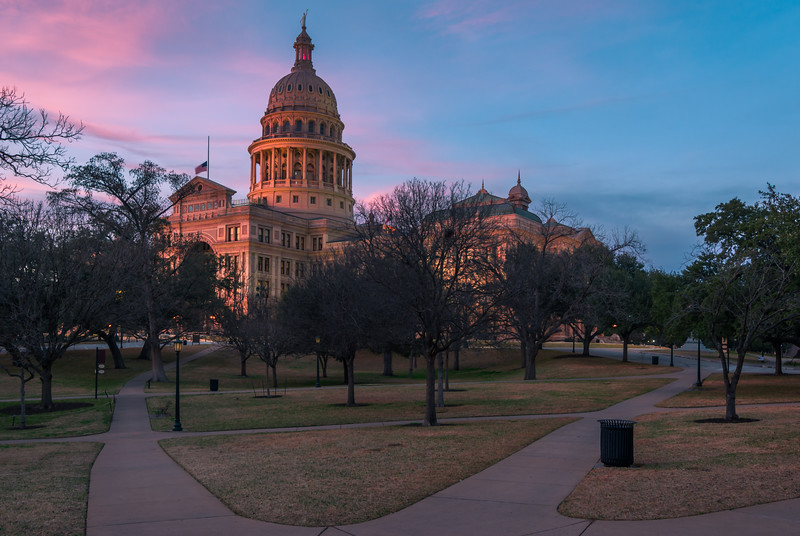 Texas State Capitol with Walking Path at Sunset.