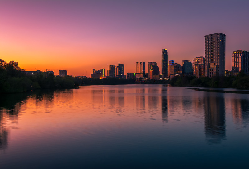 Austin skyline from Boardwalk Trail at Sunset.