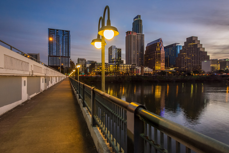 Austin skyline from the First Street Bridge.