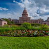 Texas State Capitol with Summertime Flowers.