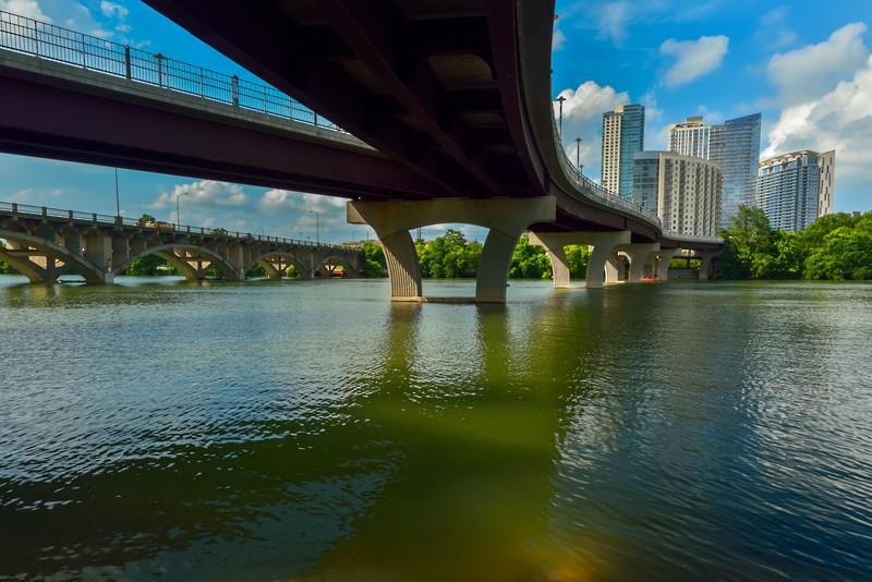 Late Afternoon under the Pfluger Pedestrian Bridge: Austin Texas.