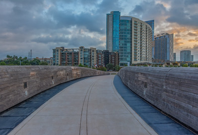 Pfluger Pedestrian Bridge at Sunrise.