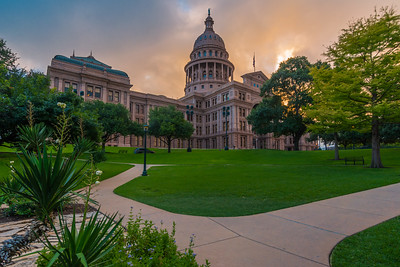 Texas State Capitol building with Path at sunrise.