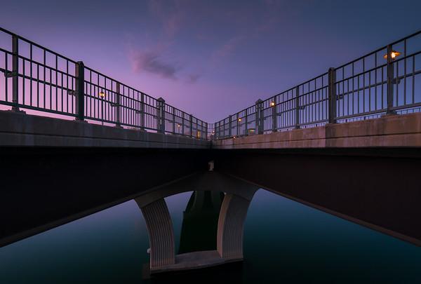 Looking back at the Pfluger Pedestrian bridge at sunrise.