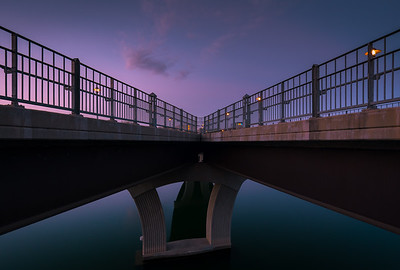Looking back at the Pfluger Pedestrian bridge at sunrise.