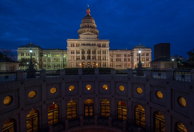 Texas Capitol and Rotunda at blue hour: 2017