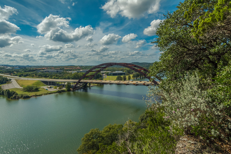 Pennybacker bridge with Afternoon clouds.