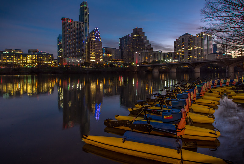 Austin skyline and Paddle boats at Night.