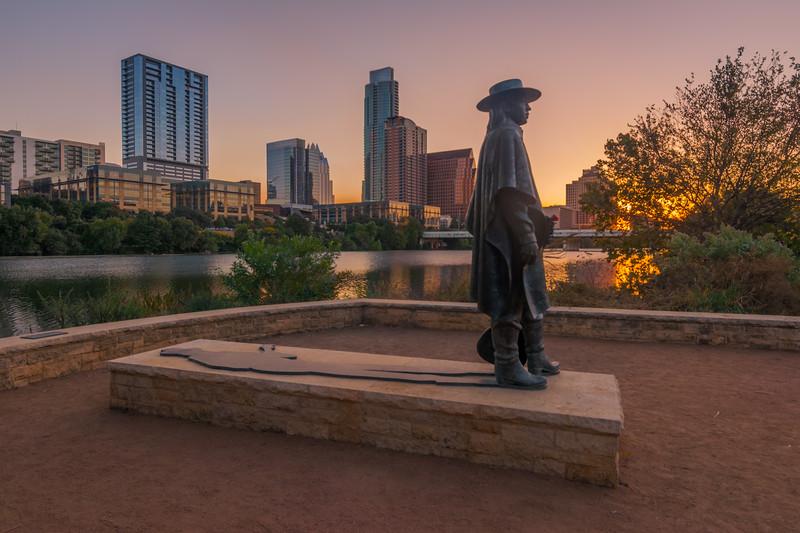 Stevie Ray Vaughan statue at sunrise: Austin Texas.